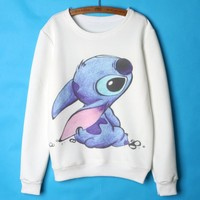 Lilo and stitch Hoodies Women Cute Cartoon Sweatshirts Womens Hoodies Pullover White Femme 2015 Autumn Winter clothing