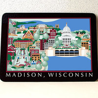 "Madison WI glass cutting board, Tempered Glass; 10.75"" x 7.75"" x .188"", Dishwasher Safe. Made in USA, capitol, Monona Terrace, UW, Mendota"
