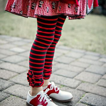 Black/Red Stripe Ruffle Button Leggings