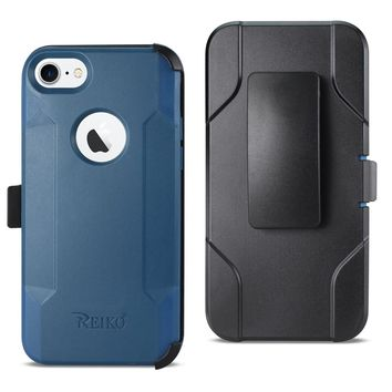 iPhone 8 3-In-1 Hybrid Heavy Duty Holster Combo Case (Navy)