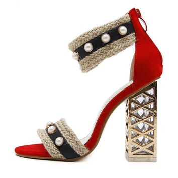 Crystal String Bead Patchwork Shoes Sandal