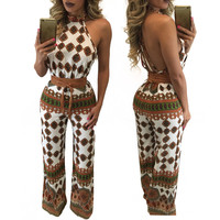 Strappy Cutout Back Printed Tie-Waist Jumpsuit