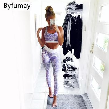 Byfumay Women Sport Yoga Set Crop Top Bra and Pant Tight Leggings 2 Pieces Sports Suit Women Wear Running Set Yoga Suit S044