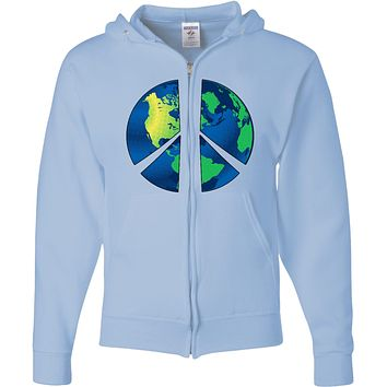Peace Sign Full Zip Hoodie Blue Earth