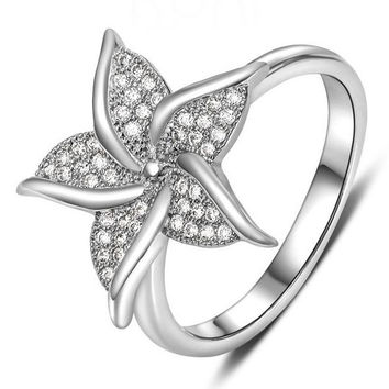 Star Flower Fashion  Stainless Steel Women Rhinestone Engagement Wedding Bands Bride Rings Zircon CZ Crystal vintage Lady Girl Jewelry Gifts = 1930088004