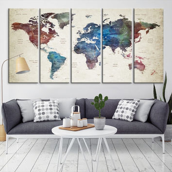 50958 - Large Wall Art World Map Canvas Print- Custom World Map Push Pin Wall Art- Custom World Map Canvas Poster Print- Personalized Wall Art