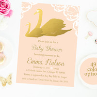 Pink and Gold Baby Shower Invitation Baby Shower Invitation Customize Color girl baby shower invite printable digital diy
