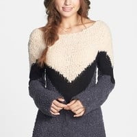 BP. Textured Chevron Knit Pullover (Juniors) | Nordstrom
