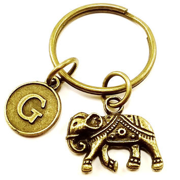 Vintage bronze Lucky elephant protection keyring, keychain, bag charm, purse charm, monogram personalized custom gifts under 10 item No.326
