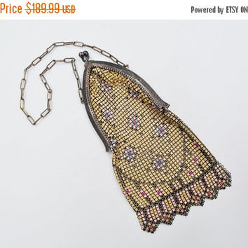ON SALE Art Deco Whiting & Davis Mesh Purse, Mesh Bag, Sterling Silver, Enamel, Chased, Arched, Cathedral, Multi Color, A Beauty! #k025