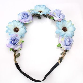M MISM 2017 New Fashion Women Lady Bohemian Style Wreath Flower Crown Wedding Garland Forehead Hair Head Band Beach Wreath