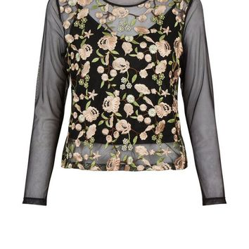 Petite Black Floral Embroidered Layered Mesh Top