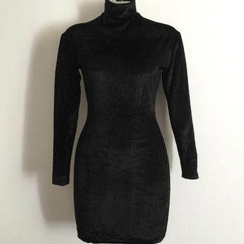 Vintage 1990s 'Siren' long sleeved black stretch velvet body con dress with turtle neck / Size 8 / London