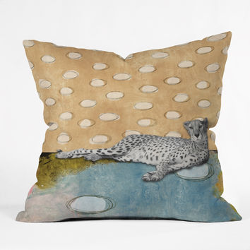 Natalie Baca Abstract Cheetah Throw Pillow