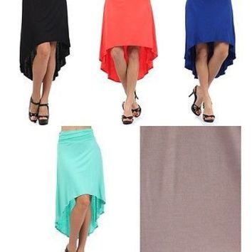 Solid Color Plain Fold Over Asymmetric Hi-Low Hem A-Line Skirts