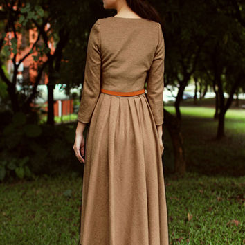 women winter thick dress Ankle long dress Formal dress Evening dress Party dress (WD11155)