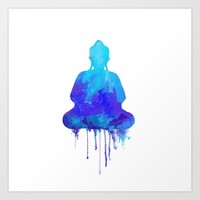 Watercolor zen Buddha blue Art Print by Thubakabra