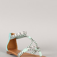 Qupid Agency-319X Snake Strappy Thong Flat Sandal