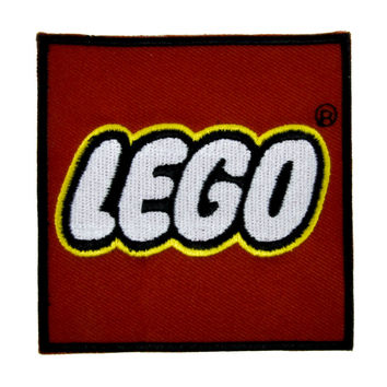 Red Block Lego Patch Iron On Applique Alternative Clothing 80's Toy