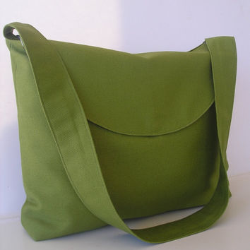 Shoulder/Messenger Bag in Green by jazzygeminis on Etsy
