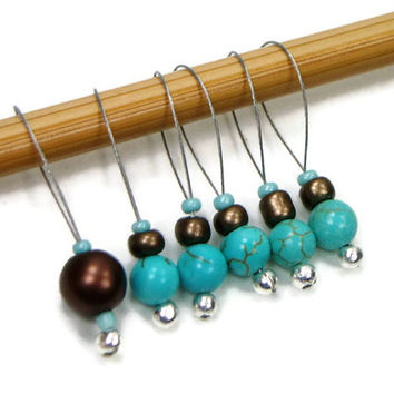 Beaded Knitting Stitch Markers Turquoise Brown