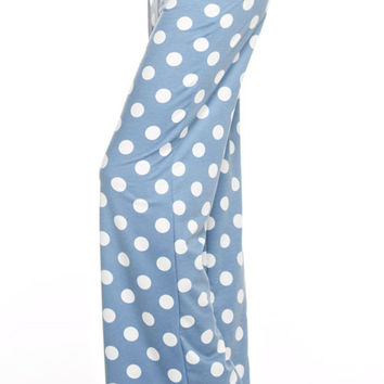 Casual Polka Dot Pants - Blue