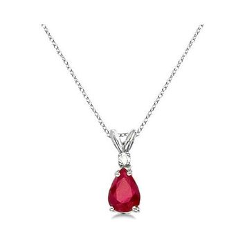 14k White Gold Pear Ruby & Diamond Solitaire Pendant Necklace