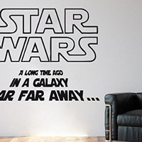 Wall Decals Quote A Long Time Ago In A Galaxy Star Wars Decal Vinyl Sticker Home Decor Interior Design Nursery Baby Room Children Art Murals Ms717