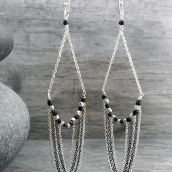 Chain Earrings, Art Deco, Black and Silver, Contemporary Design, Chandelier Style, Delicate Chains, Sterling Silver, Geometric Cubes