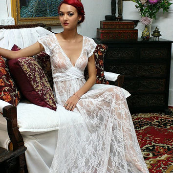 White Lace Bridal Nightgown Full Sweep Capelet Sleeve Wedding Sleepwear