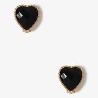 Faceted Heart Clip On Earrings