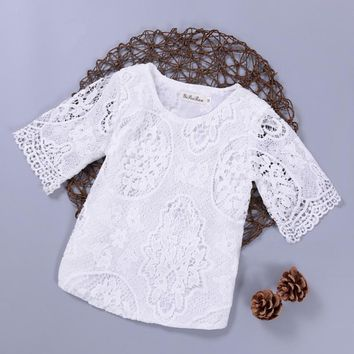 New Spring Autumn Kids Baby Girl's Lace Flower Pattern Shirt Tops Long Sleeve Blouse Pullover O Neck White Costumes