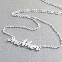 Mother's day Gift - Sterling Silver MOTHER Necklace - mother letter pendant necklace
