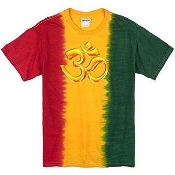Yoga Clothing for You Mens 3D OM Rasta Tie Dye T-Shirt