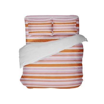 Pink and Orange Stripes College Girls Comforter Set