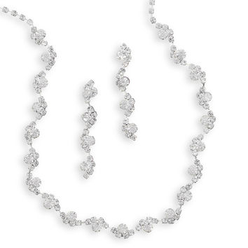 Bridal Necklace Beautiful Wave Design Crystal & Earring Set