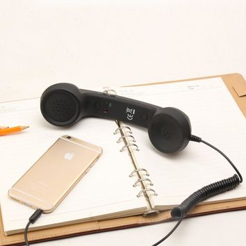 Retro Telephone Receivers Classic Earpiece MIC Microphone Cellphone Headset 3.5mm Headphone For Mobile Phone PC