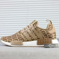 FENDI x Adidas NMD R1 Boost Fashion Casual Running Sneakers Shoes Khaki G-SSRS-CJZX