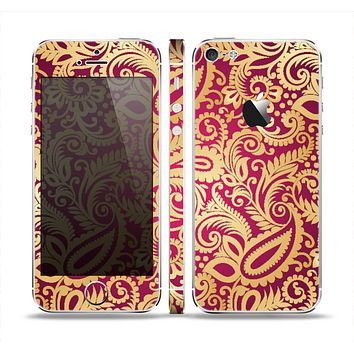 The Gold and Red Paisley Pattern Skin Set for the Apple iPhone 5