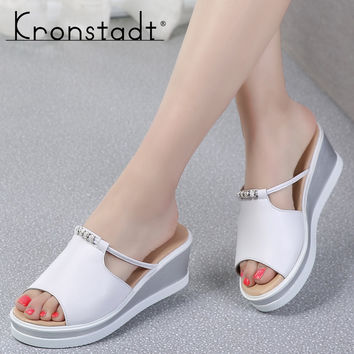 Kronstadt Women Slipper Sandals Heels Wedges Platform Peep toe Crystal Elegant Female Sandals Ladies Mules clogs Summer Shoes