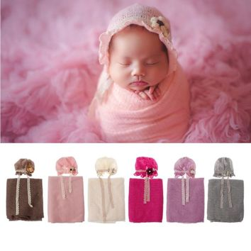 Newborn Photography Props Baby Crochet Costume Photo Caps Stretch Blanket Set baby shower gift photography props accessories