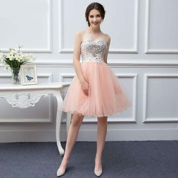 Girls Bridesmaid Gown Tulle Beaded Knee Length Short Peach Coral Bridesmaid Dresses