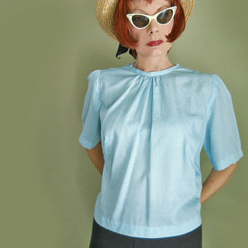 Plus Size Vintage Blouse - 1960s Puff Sleeve Blouse