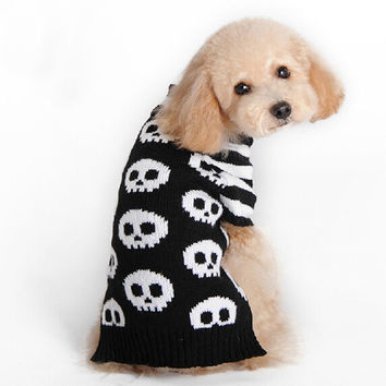 Halloween Pet Sweater Skull Stripe Sleeve Cat Dog Puppy Dog Pet Clothing Small Milk Sweater  Products For Pets