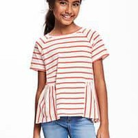Raglan-Sleeve Peplum-Hem Tee for Girls | Old Navy