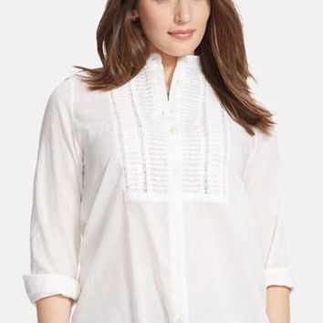 Plus Size Women's Lauren Ralph Lauren Lace Trim Cotton Voile Tunic,