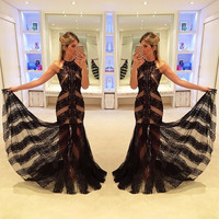 Simple Sexy Black Lace Evening Dresses formal Gown Custom Made 2017 Halter Mermaid Prom Desses Vestido De Festa