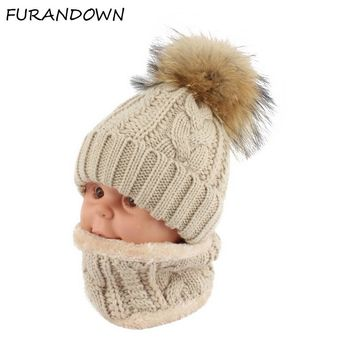 Children kids Winter Hat Scarf set Raccoon Fur Ball Hat Pom pom Beanies Baby Girls Warm Fleece Cap Scarf Set