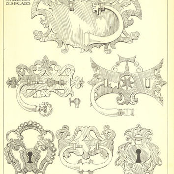 Iron Escutcheons and Door Handles from Old Palaces in  Palma de Majorca  Spanish Renaissance Andrew N Prentice Drawing