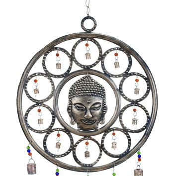 Metal buddha wind chime with mix of art and spirituality